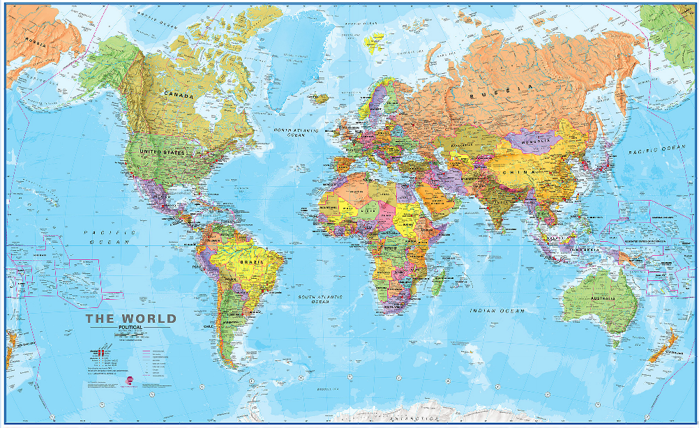 """World Megamap Wall Map 48""""x77"""" ideal for map wallpaper"""
