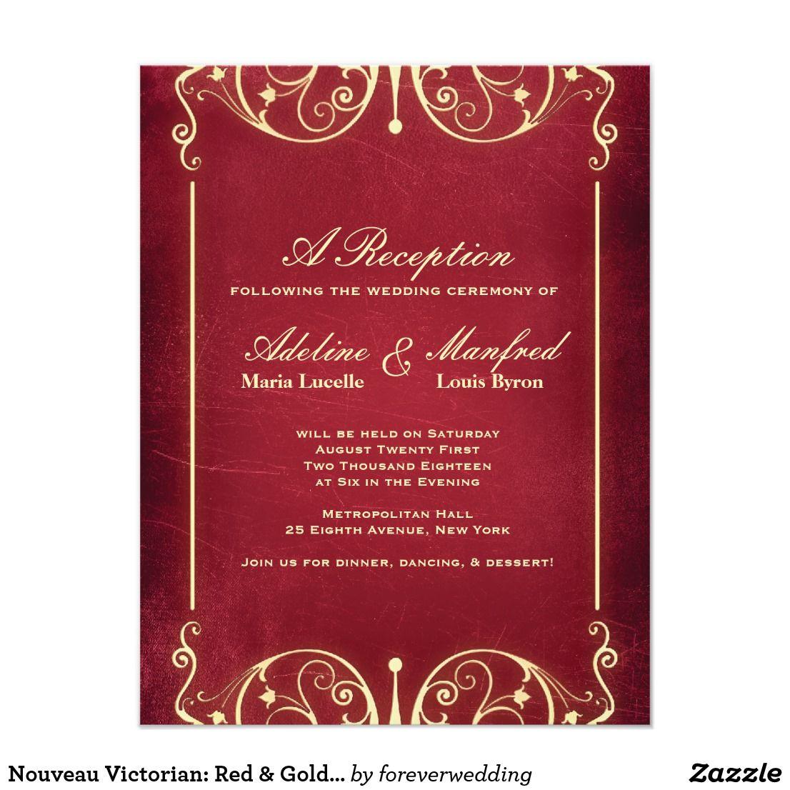 Nouveau Victorian: Red & Gold Reception Card | Wedding reception ...