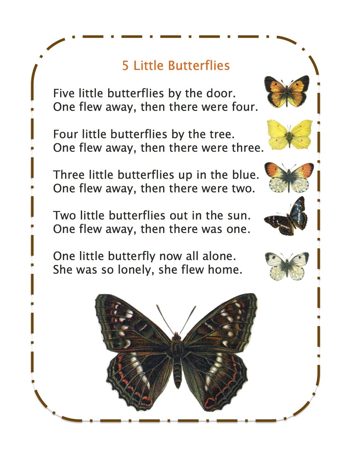 5 Little Butterflies Song Create Butterfly Manipulatives To Use While Singing