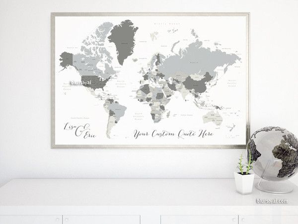 Custom quote world map with countries us states canadian custom quote world map with countries us states canadian provinces oceans labeled concrete hues diy travel pinboard map printable world map gumiabroncs Choice Image