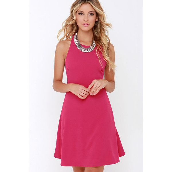 Count On Me Fuchsia Halter Dress ($38) ❤ liked on Polyvore ...