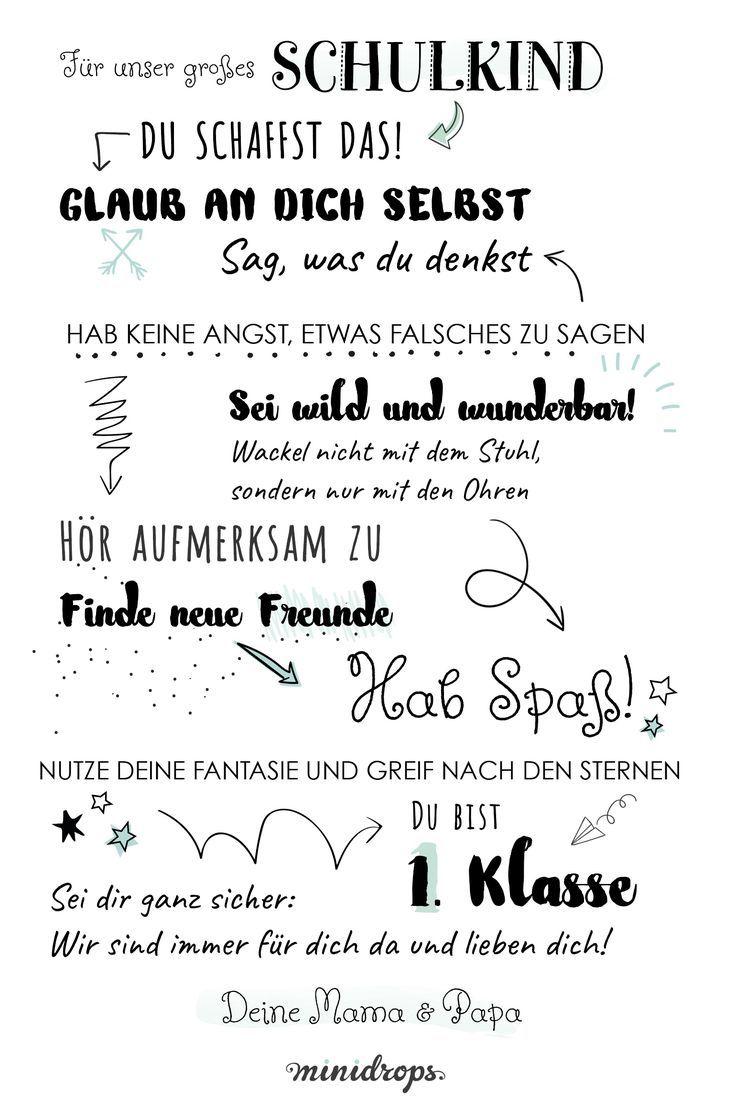 Tolles Mutmach Poster Für Das Schulkind Zum Ersten Schultag Das