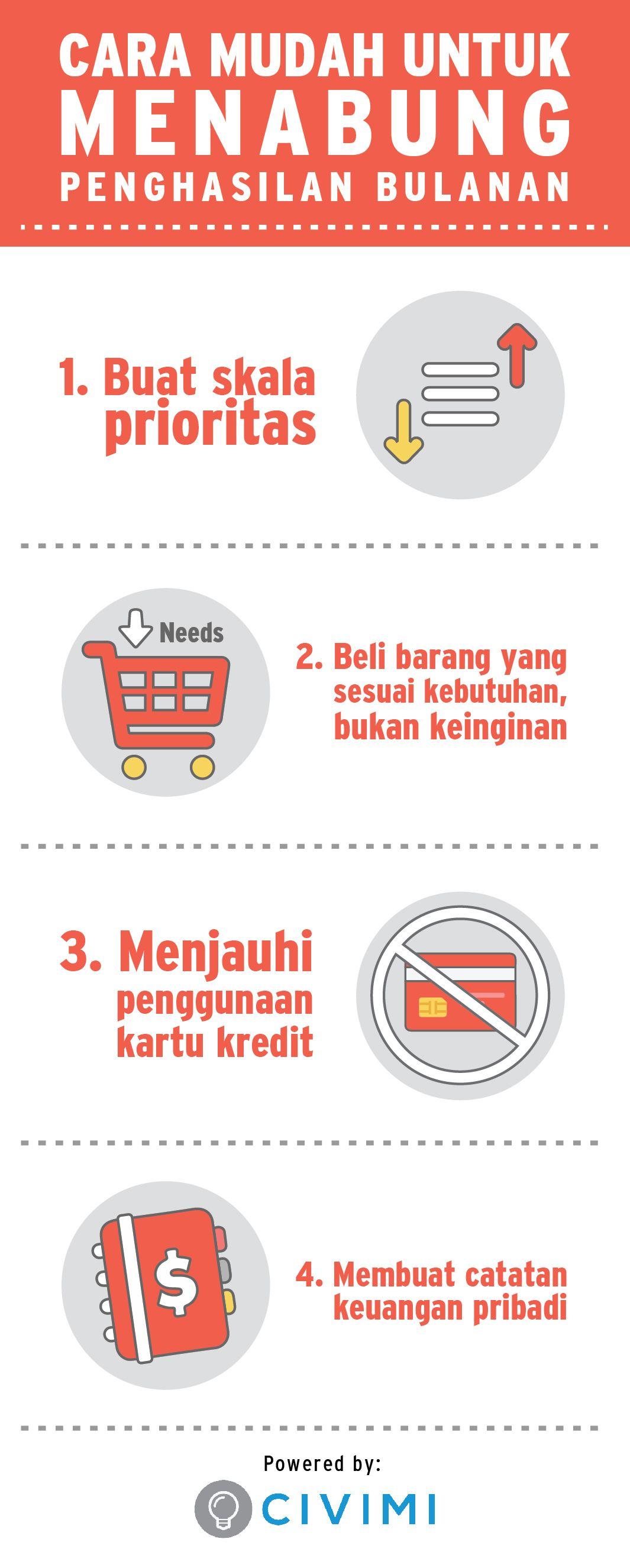 Tips Untuk Menabung Penghasilan Bulanan Kamu Infographic Keuangan Pengelolaan Uang Pengetahuan
