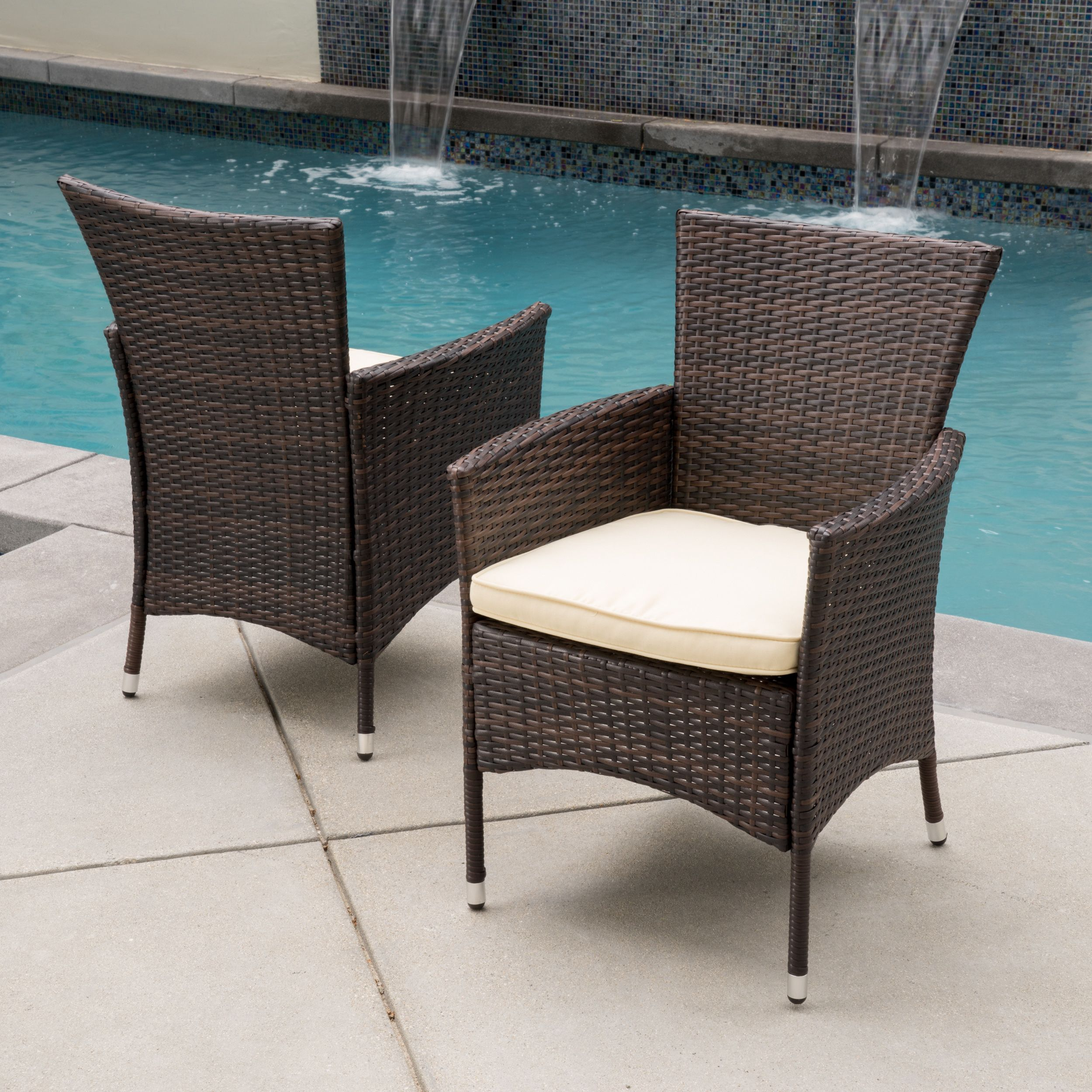 Outdoor wicker dining chairs - Malta Outdoor Wicker Dining Chair With Cushion Set Of 2 By Christopher Knight Home
