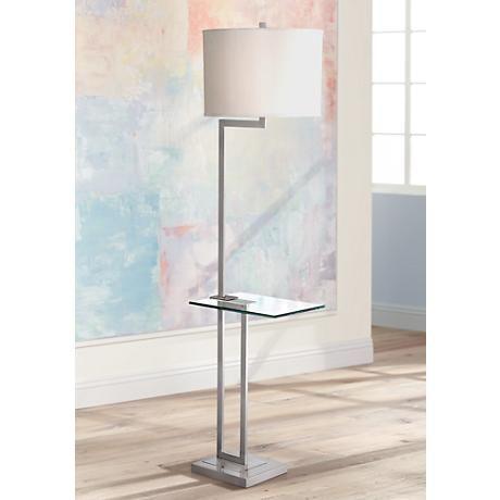Rudko Polished Steel Floor Lamp With Glass Tray Table X3435 Lamps Plus Steel Floor Lamps Floor Lamp Design Floor Lamp