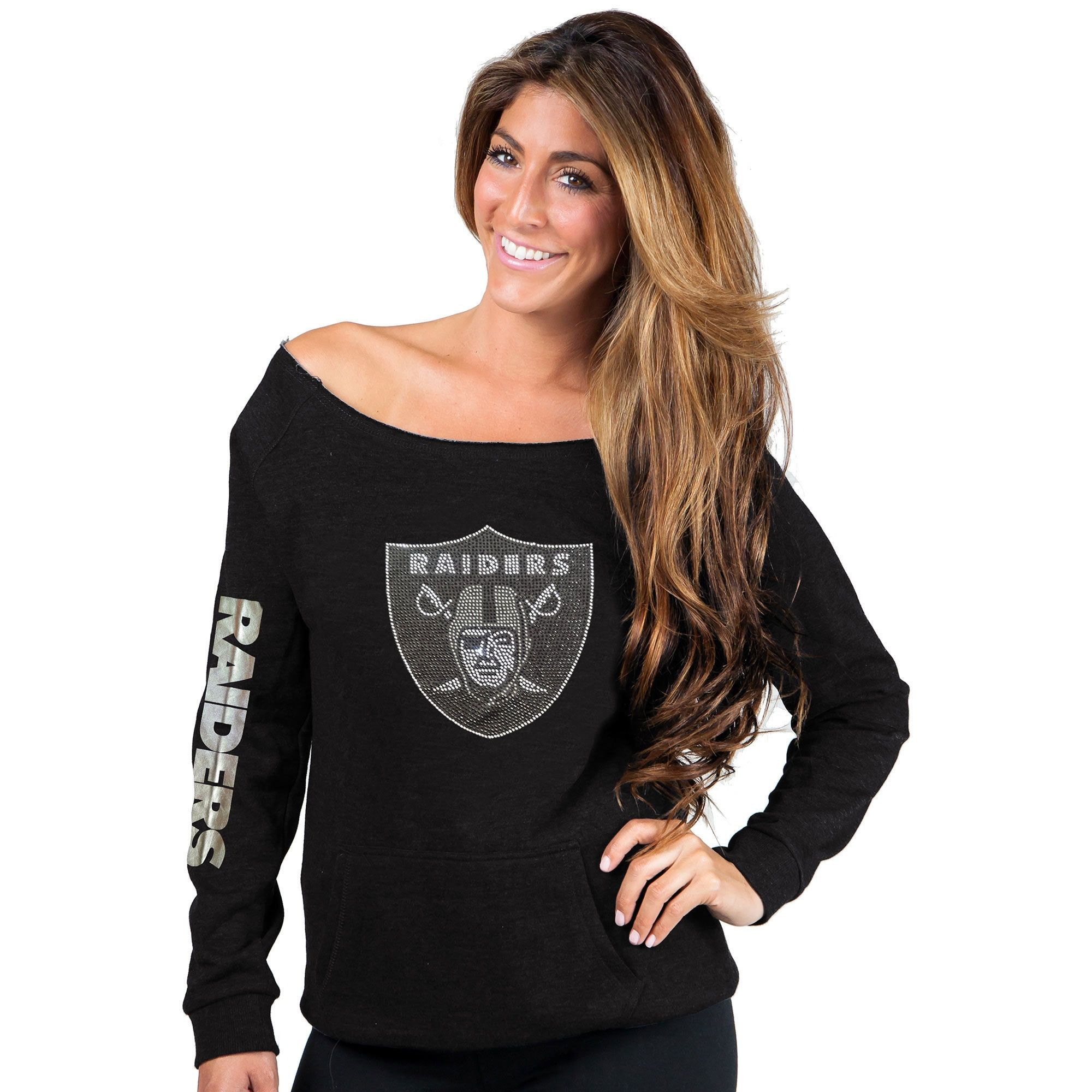 Cuce Oakland Raiders Women s Black Sideliner Sweatshirt  91e5140ec