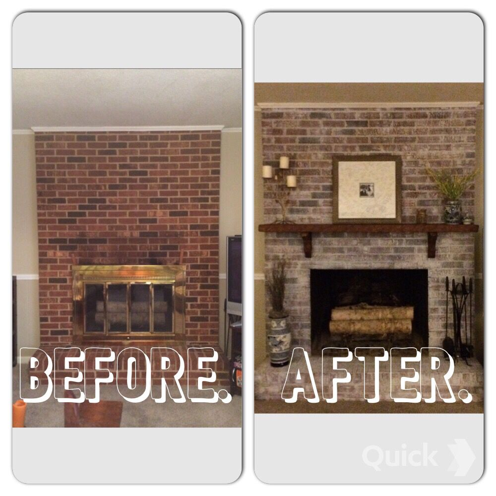 Painting Decorating Wirral Before After Resurfacing: Whitewashed Brick Fireplace - Before & After