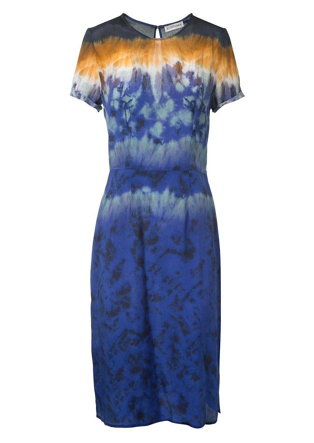 Altuzarra Tie Dye Satin Silk Dress Cloth Blue