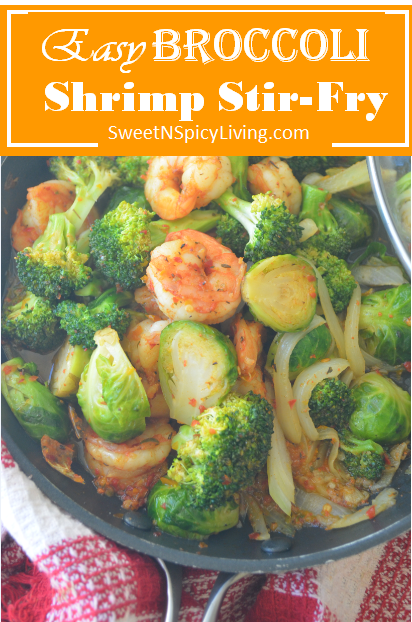 Broccoli and Brussels Sprouts Shrimp Stir Fry #healthystirfry