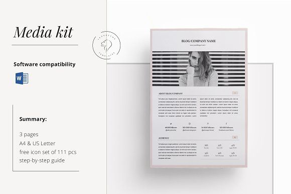 Media Kit Template - 3 Pages Pinterest Media kit template, Media