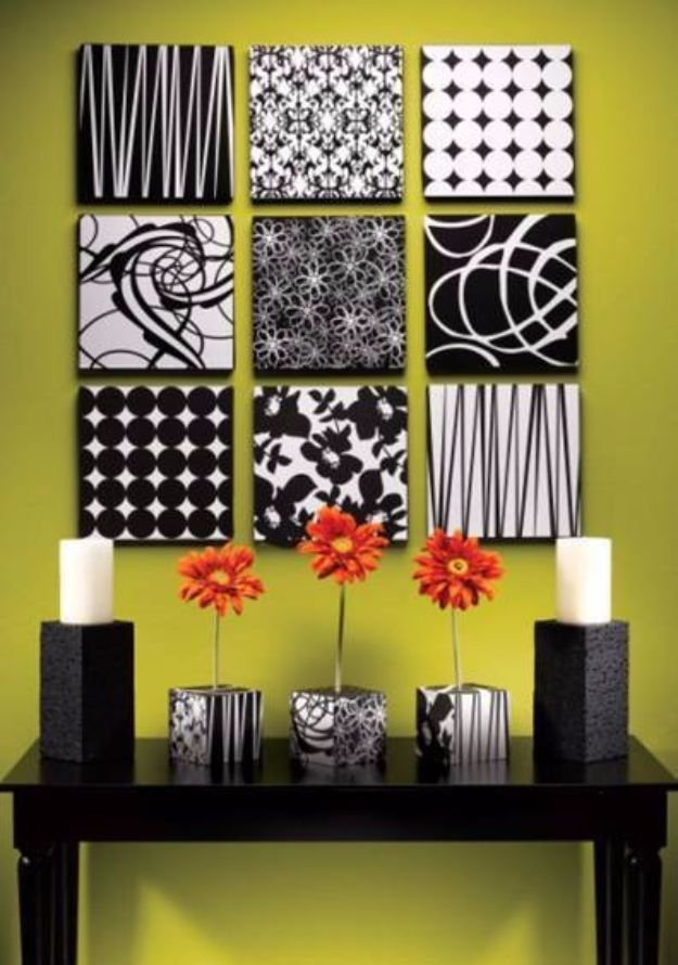 DIY Wall Art Ideas And Do It Yourself Wall Decor For Living Room, Bedroom,  Bathroom, Teen Rooms | Black And White Styrofoam Wall Art | Cheap Ideas For  Those ...