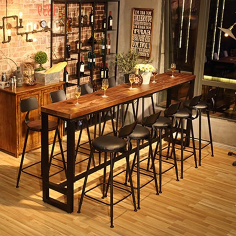 Photo of Modern Wood Metal High Bar Table Simple Home Coffee Bar Table Against The Wall Strip Side High Bar  (BM510-01)