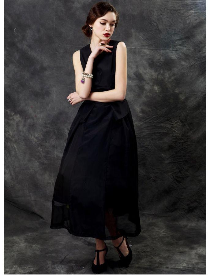 5181ab46882d Black Sleeveless Peplum Tea Length Vintage Inspired Style Dress ...