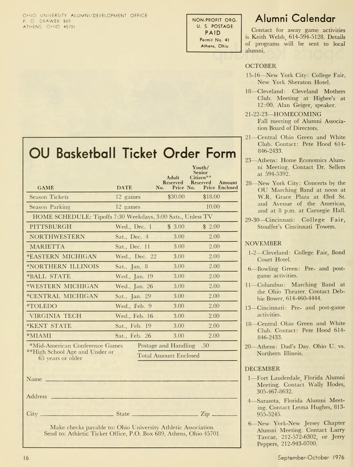 Ohio University Alumni Journal September October 1976 Ou Basketball Ticket Order Form Ohio University Archives Ohio University University Ohio