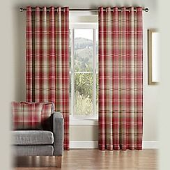 Montgomery - Red 'Kirkwall' Fully Lined Eyelet Curtains