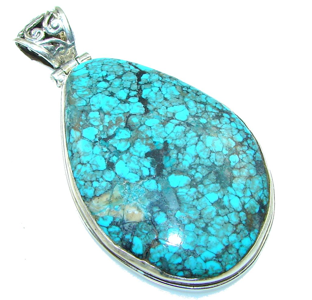 $71.25 Mountain Blue with Extra Fine Spiderweb Turquoise Sterling Silver Pendant at www.SilverRushStyle.com #pendant #handmade #jewelry #silver #turquoise