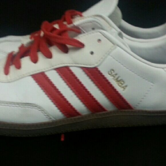Mens Adidas Samba white with red strip pre-owned nice condition. Adidas Shoes Sneakers