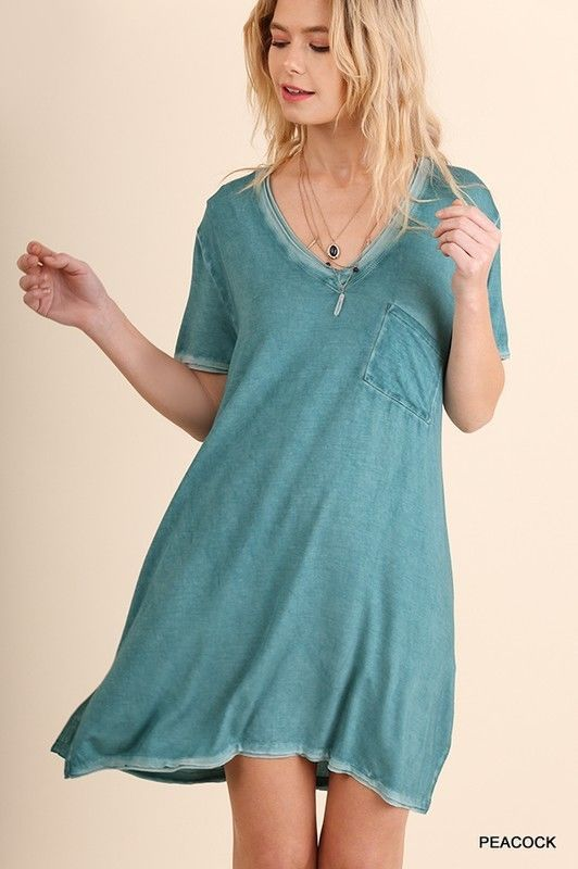 996ae23bf27bcd UMGEE short sleeve t-shirt V-Neck washed casual day dress tunic S M L  umgee   ShirtDress  Casual
