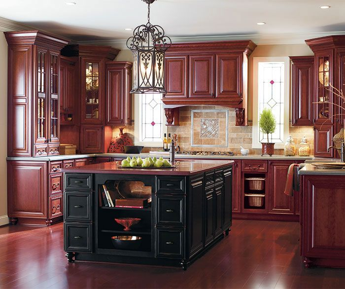 Best Burgundy Kitchen Cabinets With A Black Island By Dynasty 400 x 300