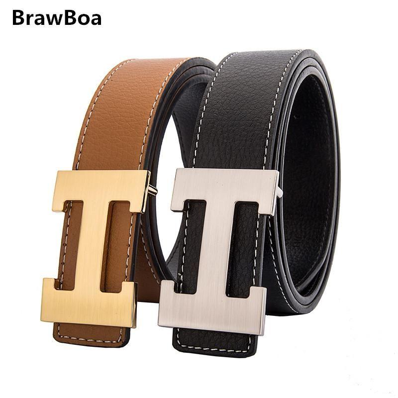 Fashion Retro Real Leather Waist Belt Letter Buckle Unisex Waistband