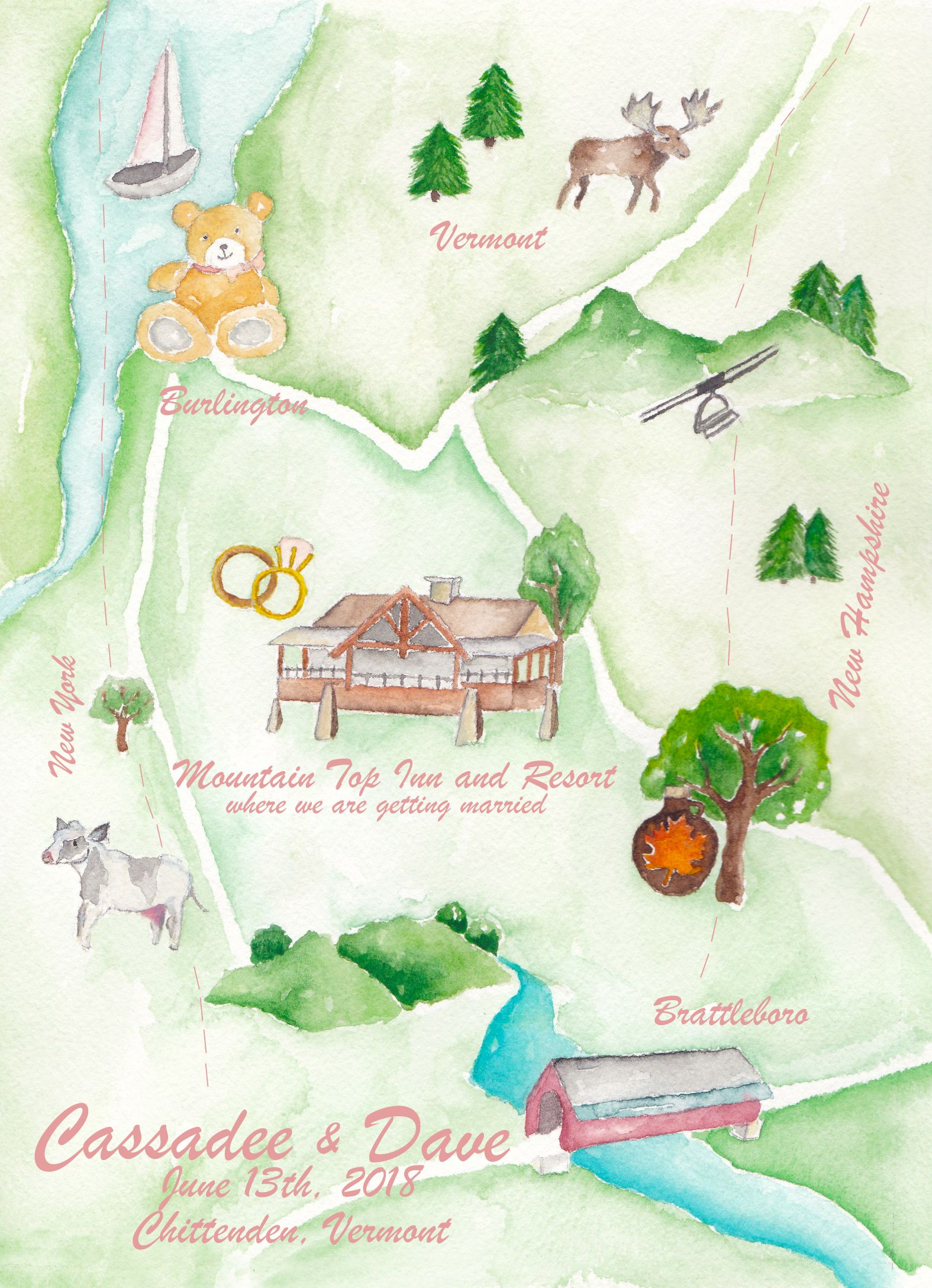 Wedding Maps Watercolor Wedding Map