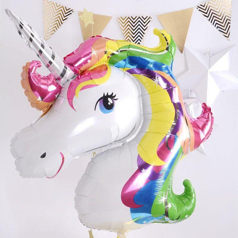 USA Giant Unicorn Rainbow Foil Latex Balloon Multi Color Kids Birthday Party DIY