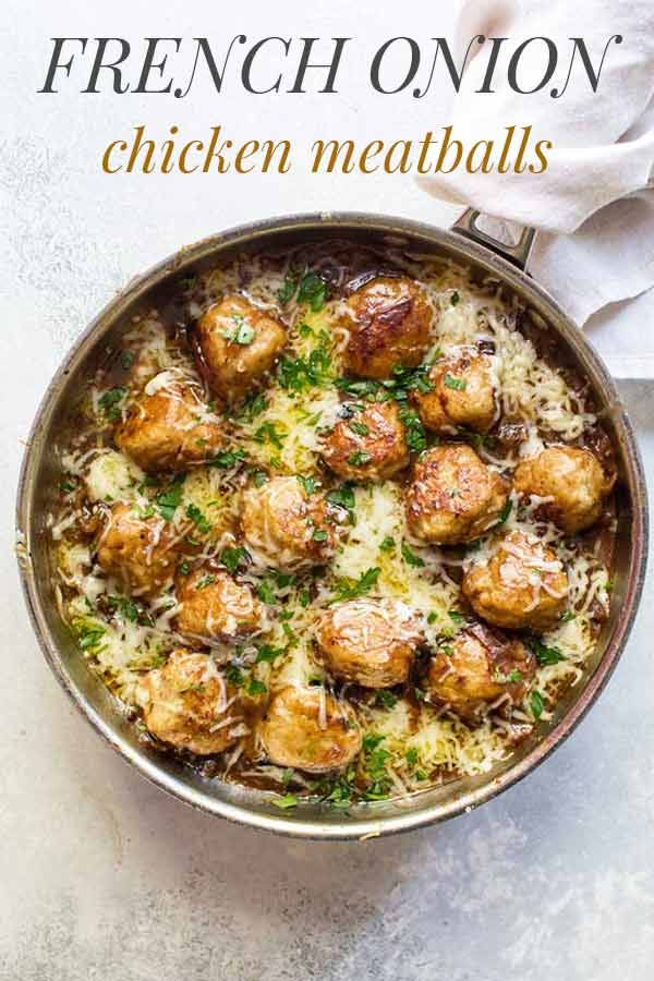 French Onion Chicken Meatballs #chicken #frenchonion #meatballs #comfortfood #dinner #recipes #cooking