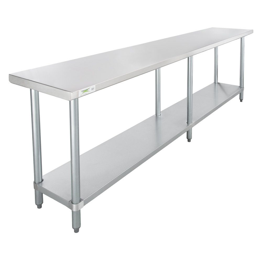 Regency 18 X 96 18 Gauge 304 Stainless Steel Commercial Work Table With Galvanized Legs And Undershelf In 2020 Work Table A Frame House Solid Wood Chairs