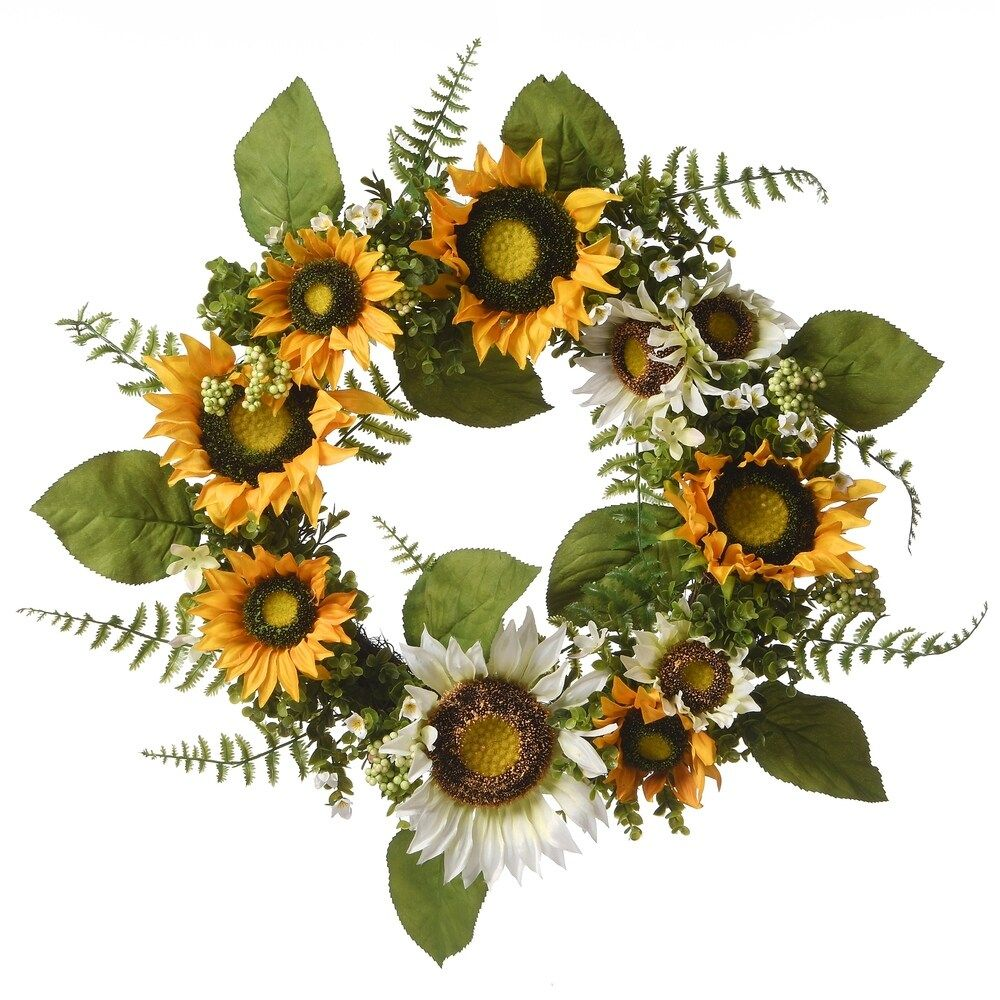 """Photo of 22 """"sunflower wreath, yellow (polyester)"""