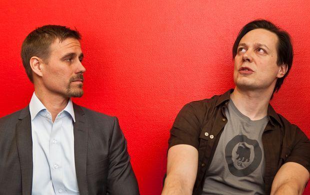 Steam Republic -yhtiön hallituksen puheenjohtaja Kaj Kangasmäki ja luova johtaja Jussi Ruusila kuvattuna 2012 kun yhtiö oli vielä kuuma startup.