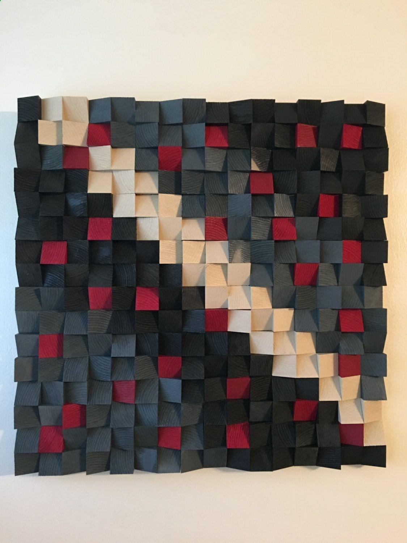 Abstract wood art wood mosaic geometric art wood wall art