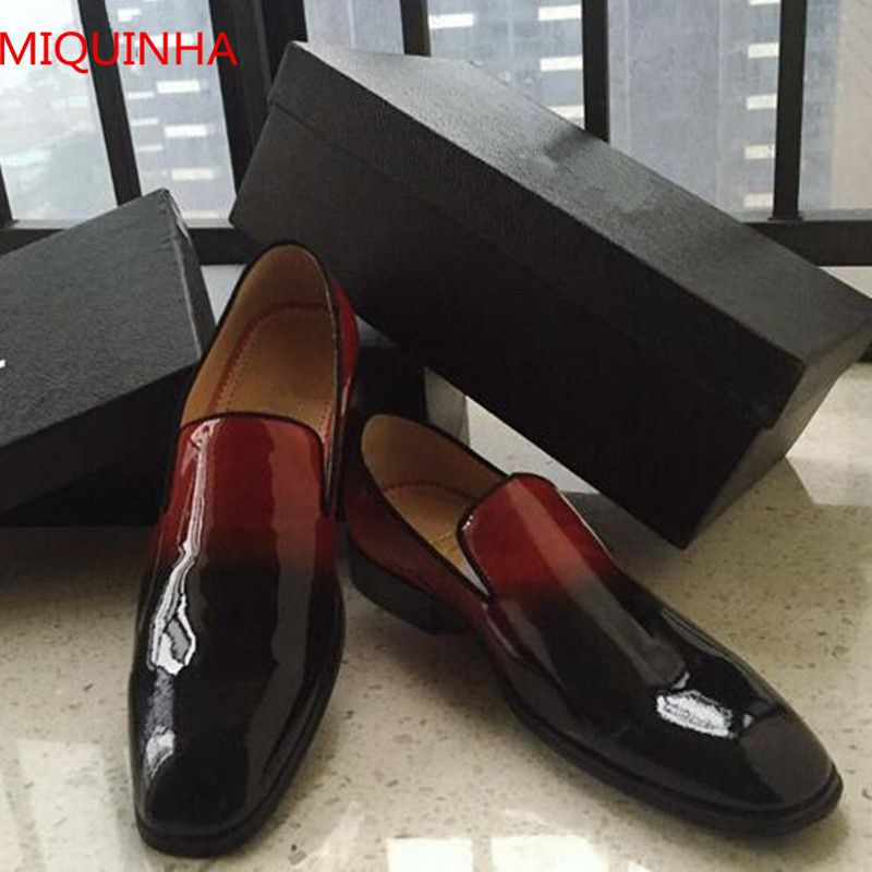 Miquinha Red Black Gradient Patent Leather Men Loafers Round Toe Slip On Flat Comfortable Menmade Shoes For Men High Quality