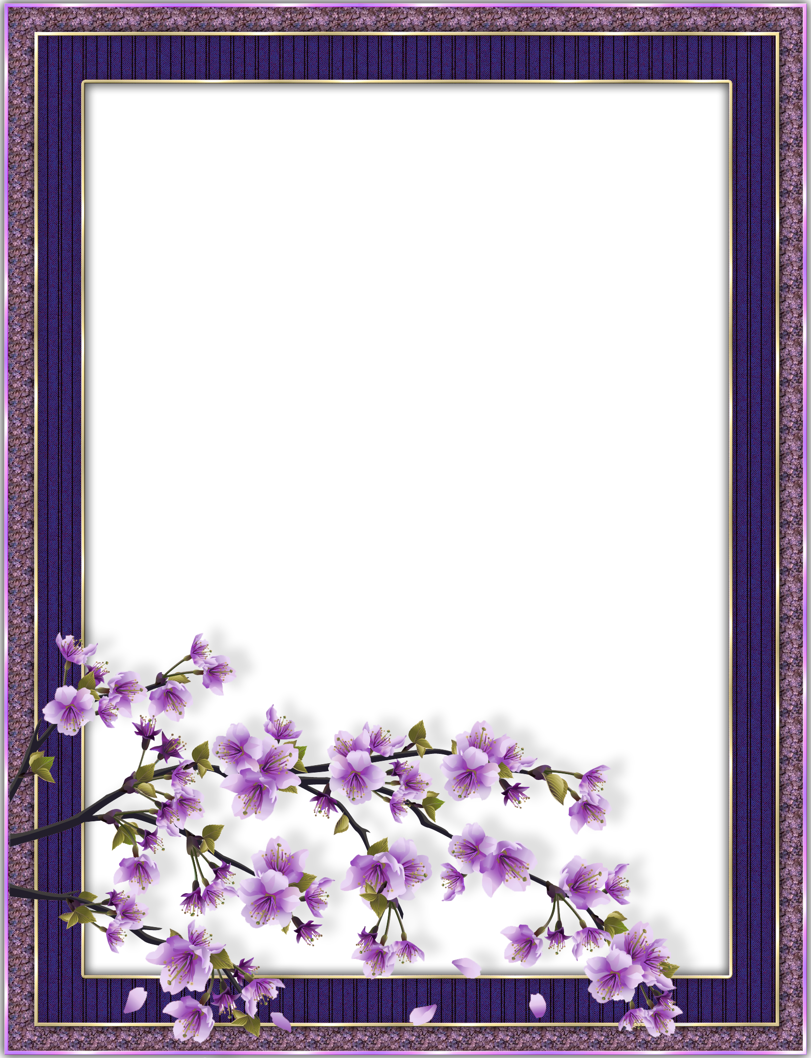 Purple Transparent Flower Frame Flower frame, Boarders