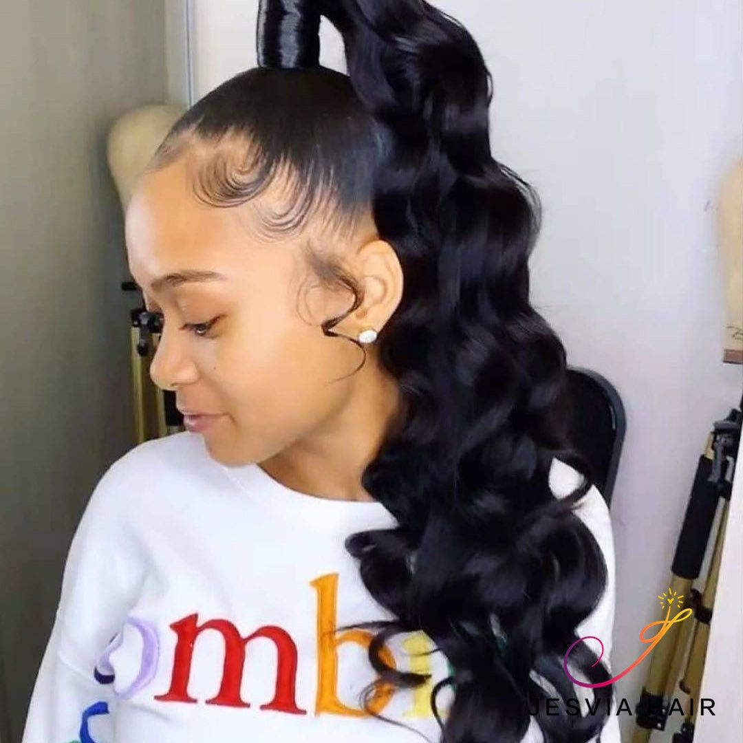 Jesvia Hair Brazilian Virgin Hair Loose Deep Wave High Ponytail Hairstyles Ponytail Hairstyles Weave Ponytail Hairstyles