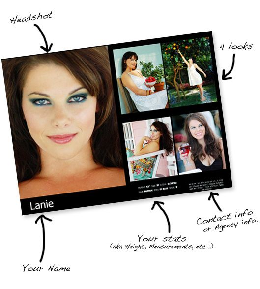 Modeling Comp Card Template Fashion Model comp by TemplateStock ...