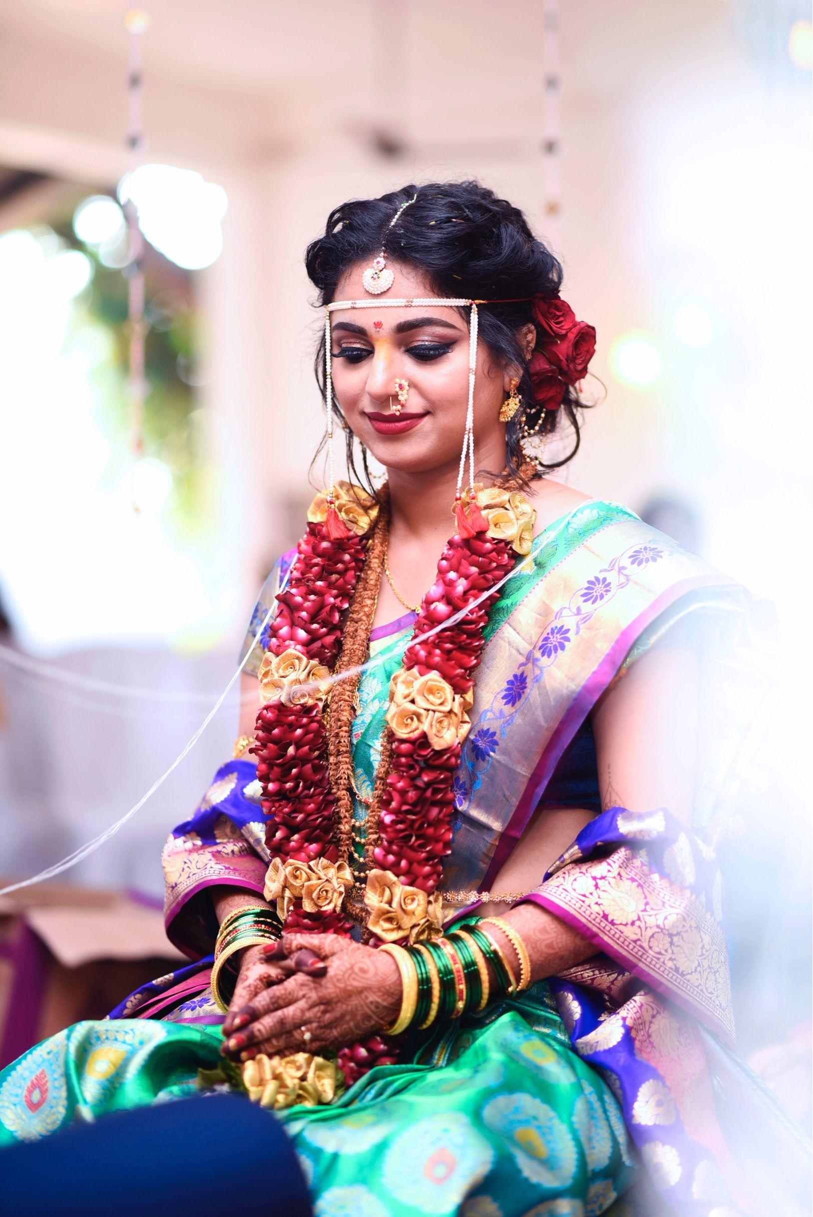 Maharashtrian Bridal Makeup and Hair by @makeoversbysukanya #makeup #bride  #maharashtrianbride #br… | Bridal wear, Indian wedding photography couples, Marathi  bride