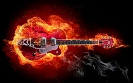 Burning Guitar Awesome Music Free HD Wallpapers For Desktop at Hdwallpapersz.net
