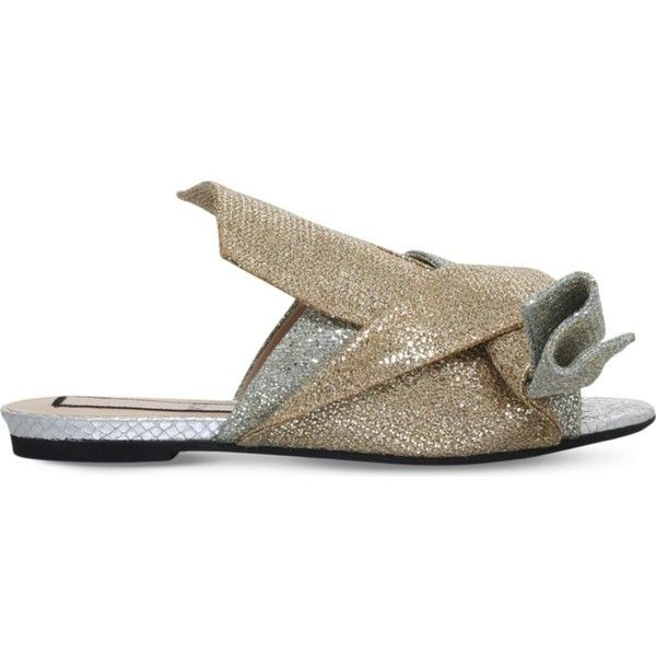 NO 21 Bow glitter slippers (€520) ❤ liked on Polyvore featuring shoes and slippers