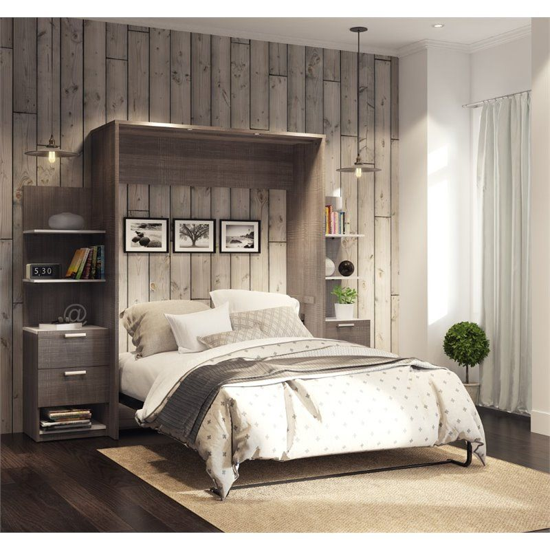 Best Bestar Cielo Elite 104 Queen Wall Bed Kit In Bark Gray 640 x 480