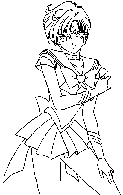 Sailor Uranus Wait For The Opponent Coloring Pages Kids Printable Moon