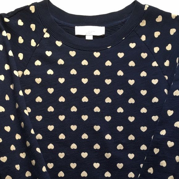 LOFT Heart Sweatshirt Cute navy sweatshirt with gold hearts print. Previously worn and some of the hearts are a little distressed from the wash. LOFT Sweaters