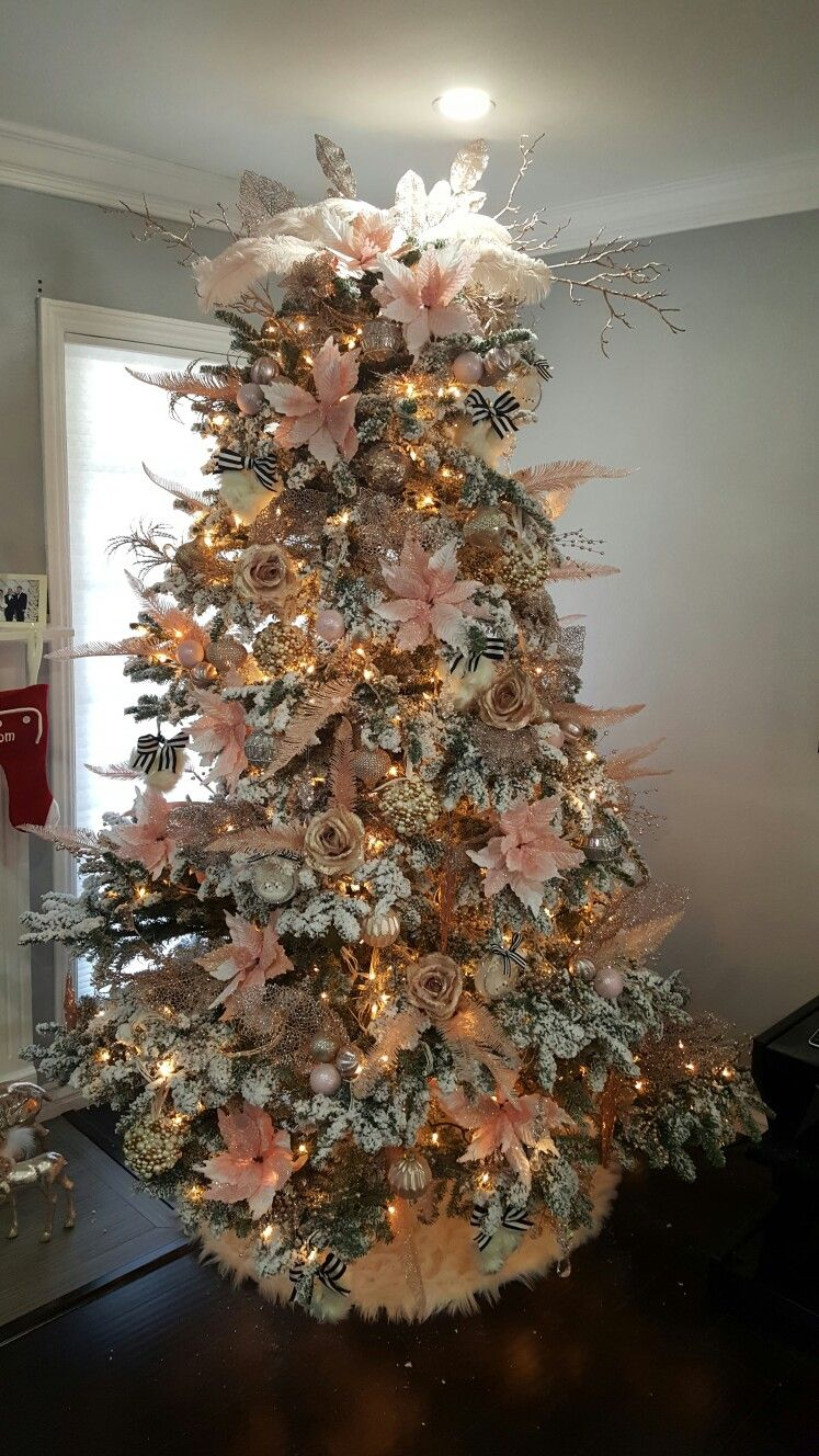 white christmas tree blush pink gold champagne and touch of