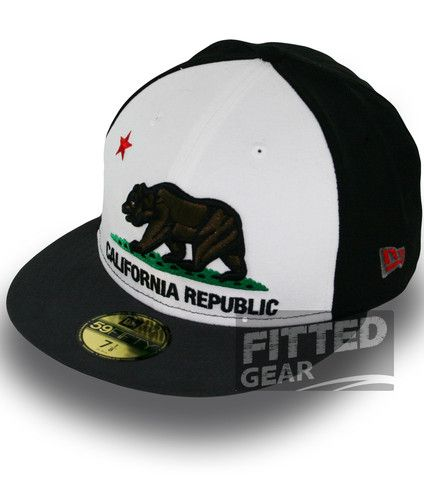 California Republic 2 Two Tone White Grey Cali Bear New Era 5950 Fitted Hats  Cap  bef53de3480f