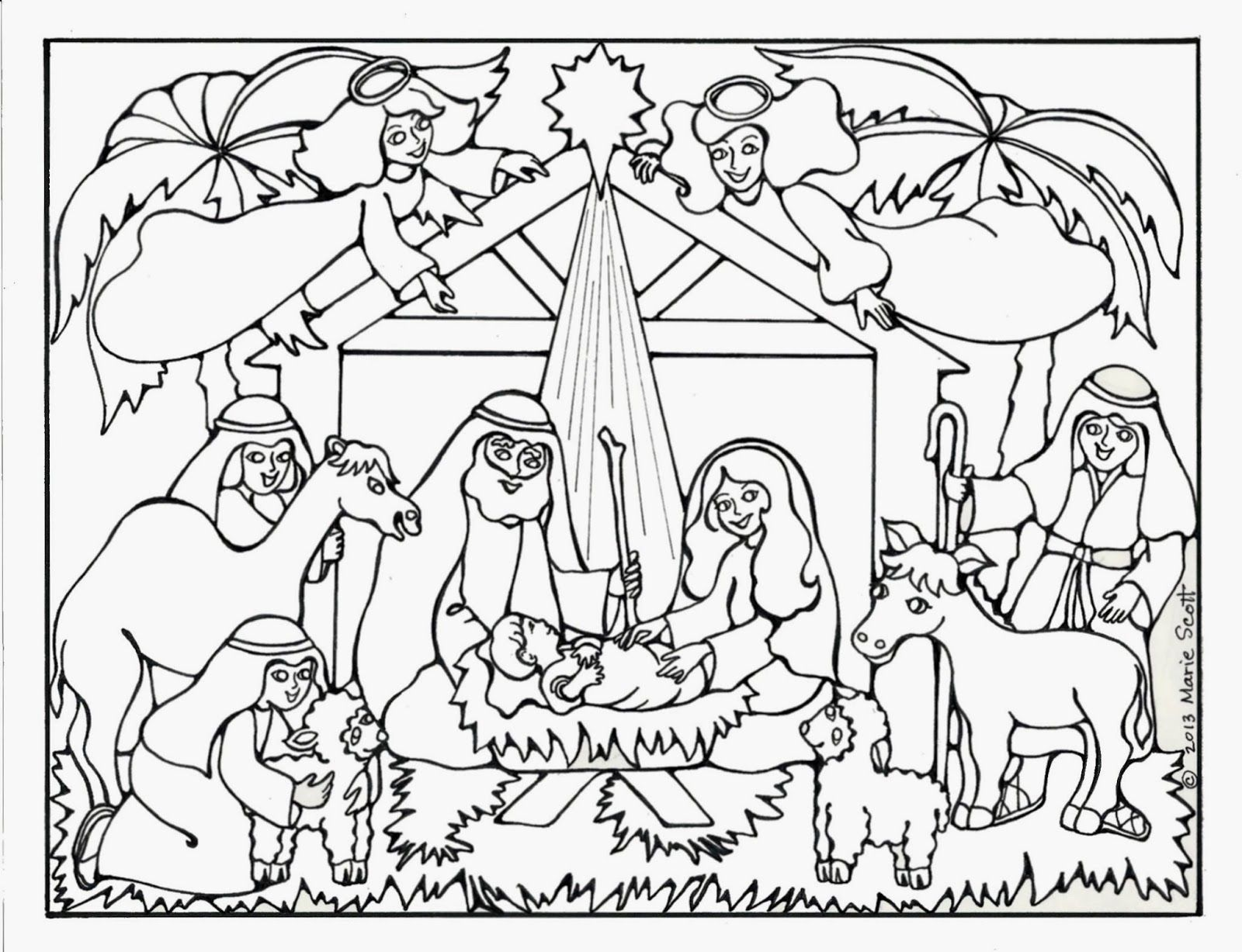 Baby Jesus Manger Coloring Pages Nativity Book Colorine Net