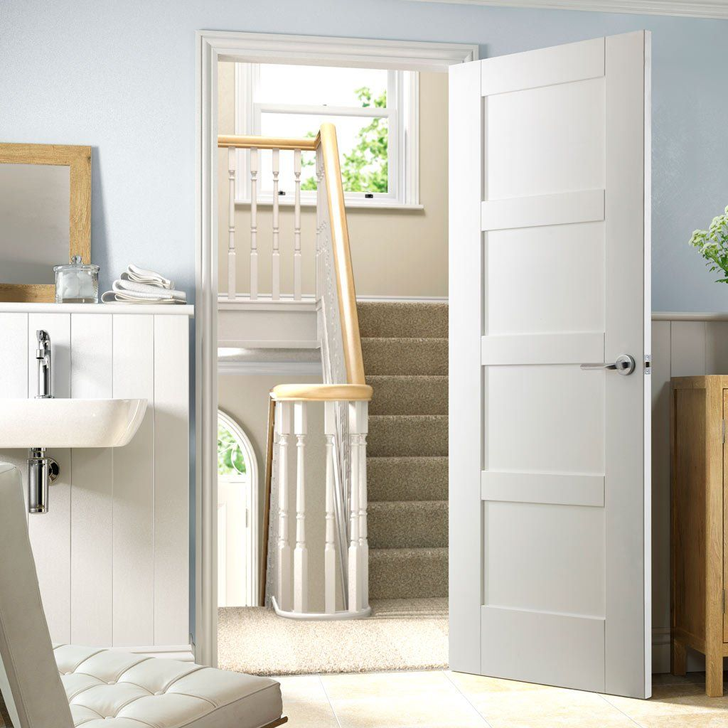 door express mdf four panel shaker primed | cabin or casa