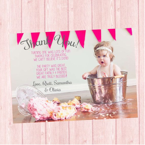 First birthday thank you card smash cake photo thank you card by first birthday thank you card smash cake photo thank you card by twistedsistershop bookmarktalkfo Image collections