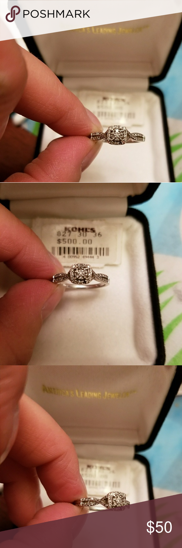 Diamond ring set in Sterling silver size 7 Diamond ring set in Sterling silver size 7 from Kohls one small diamond is missing at bottom of ring as seen in the picture. Very pretty ring worn a few times. Jewelry Rings