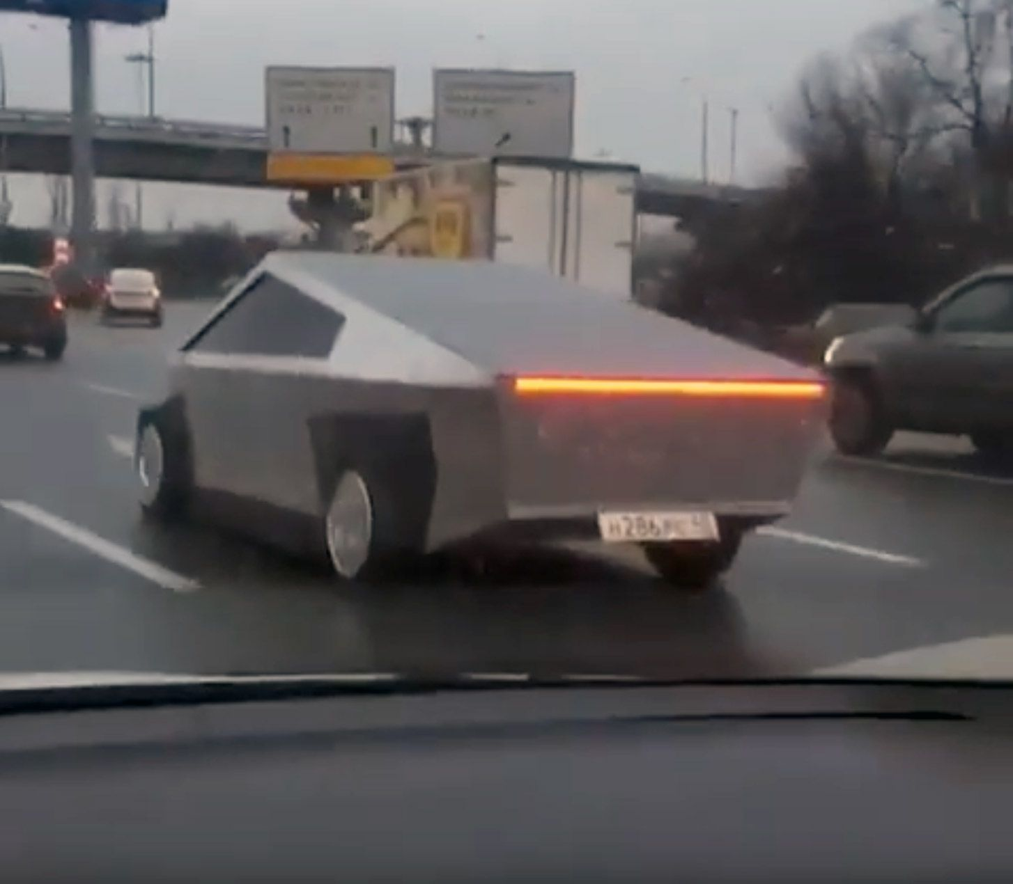 Tesla Cybertruck Knockoff Spotted In Russia Tesla Cool Cars Custom Cars
