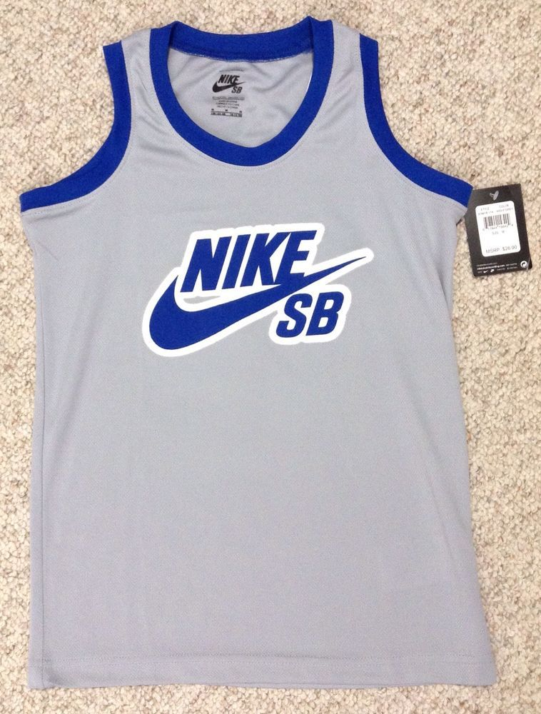 539061d091c6 SEWN  26 YOUTH (Med 10-12) NIKE SB BASKETBALL JERSEY Gray Blue Skateboard  Swoosh  Nike  Everyday