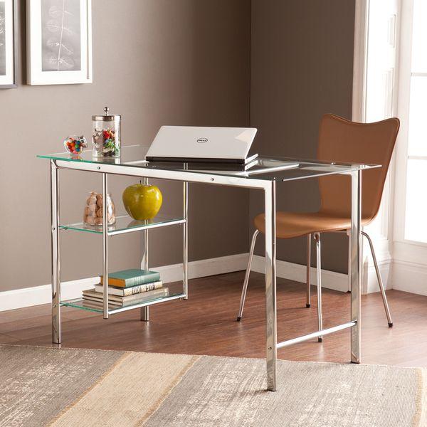 Upton Home Orsin Chrome Glass Desk Overstock Shopping Great